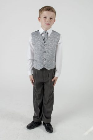 Boys 4 Piece Suit Grey With Grey Waistcoat Henry