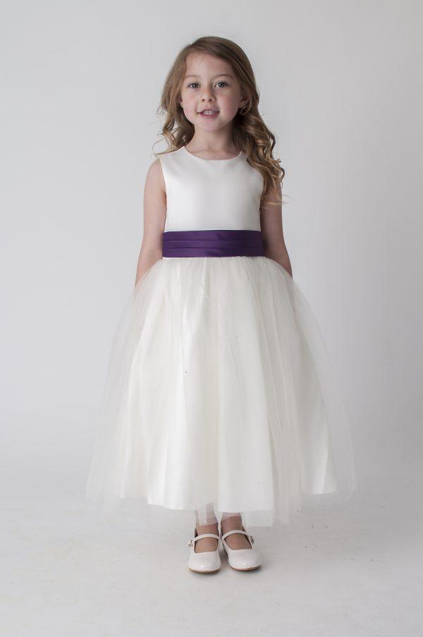 Girls Ivory Purple Dress Kate