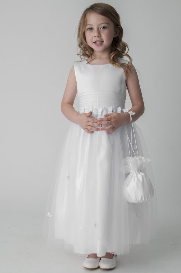 Girls ivory butterfly dress with bag
