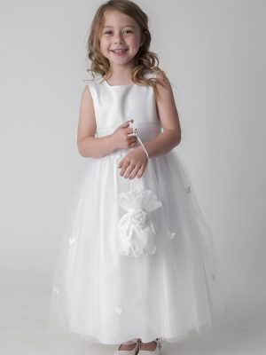 Communion Dresses Girls white butterfly dress with bag