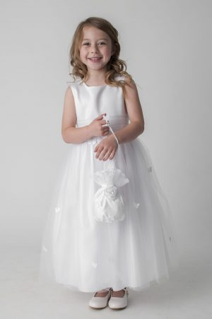 Girls white butterfly dress with bag