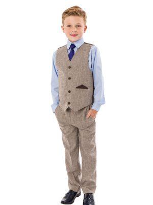 Boys 4 Piece Waistcoat Suits Boys 4 Piece Brown Herringbone Tweed Suit