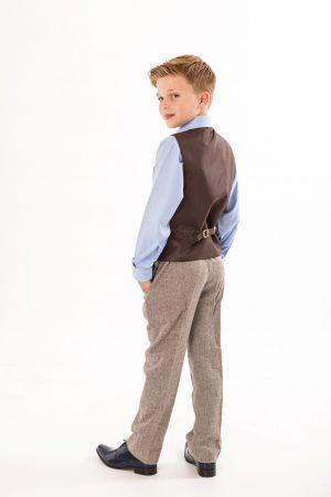Boys 4 Piece Brown Herringbone Tweed Suit