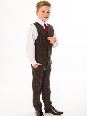 Boys 5 Piece Suits Boys 5 Piece Brown Check Tweed Suit