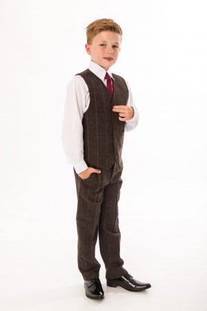 Boys 5 Piece Brown Check Tweed Suit