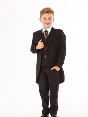 Boys 5 Piece Suits Boys 5 Piece Suit Black Tailcoat