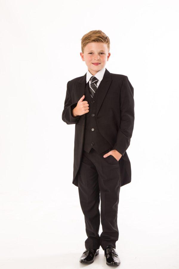 Boys 5 Piece Suit Black Tailcoat