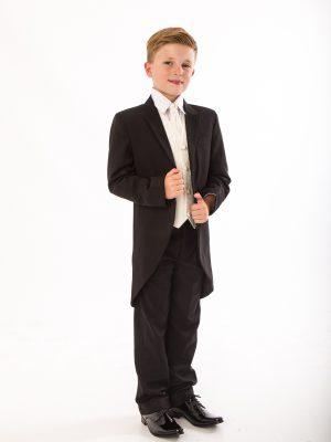 Boys 5 Piece Suits Boys 5 Piece Suit Black/Cream Swirl Tailcoat