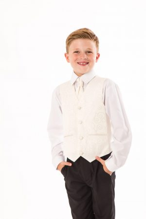 Boys 5 Piece Suit Black/Cream Swirl Tailcoat