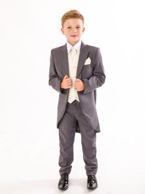 Boys 5 Piece Suits Boys 5 Piece Suit Grey/Cream Swirl Tailcoat