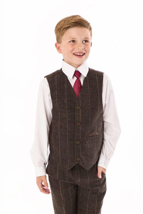 Boys 4 Piece Brown Check Tweed Suit