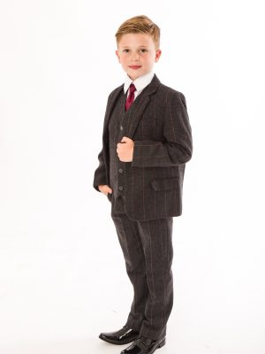 Boys 5 Piece Suits Boys 5 Piece Grey Check Tweed Suit