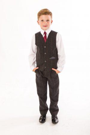 Boys 5 Piece Grey Check Tweed Suit