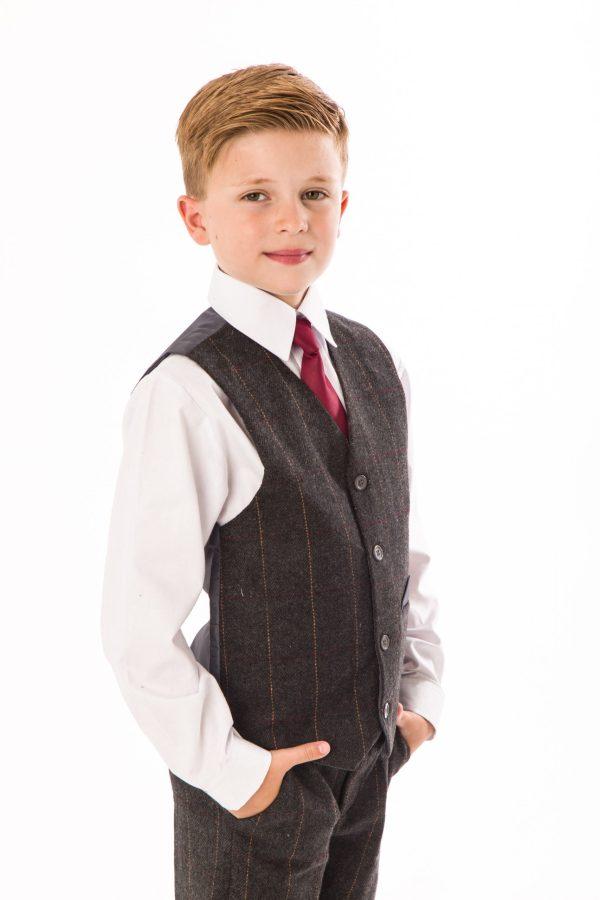 Boys 4 Piece Grey Check Tweed Suit