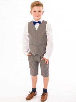 Boys 4 Piece Waistcoat Suits Boys 4 piece Suit Grey Short Set