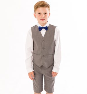 Boys 4 piece Suit Grey Short Set