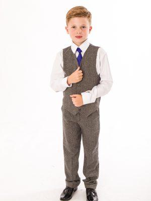 Boys 4 Piece Waistcoat Suits Boys 4 Piece Grey Herringbone Tweed Suit