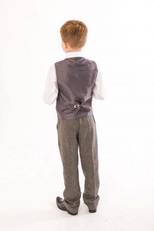 Boys 4 Piece Grey Herringbone Tweed Suit