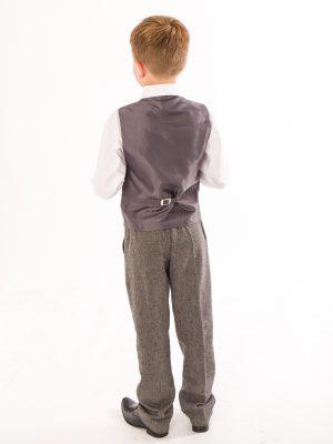 Boys 5 Piece Suits Boys 5 Piece Grey Herringbone Tweed Suit