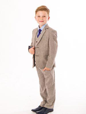 Boys 5 Piece Suits Boys 5 Piece Brown Herringbone Tweed Suit