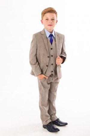 Boys 5 Piece Brown Herringbone Tweed Suit