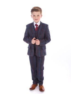 Boys 5 Piece Suits Boys 5 Piece Navy Check Tweed Suit