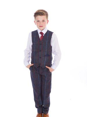 Boys 4 Piece Waistcoat Suits Boys 4 Piece Navy Check Tweed Suit