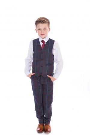 Boys 5 Piece Navy Check Tweed Suit