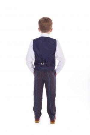 Boys 4 Piece Navy Check Tweed Suit