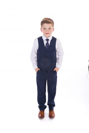 Boys navy check suit Spencer
