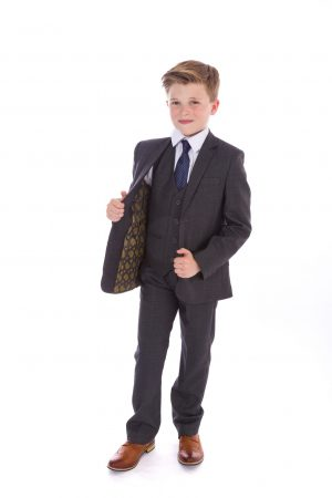 Boys grey check suit Spencer