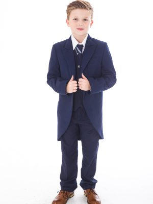 Boys 5 Piece Suits Boys 5 Piece Suit Navy Tailcoat