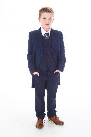 Boys 5 Piece Suit Navy Tailcoat