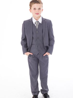 Boys 5 Piece Suits Boys 5 Piece Suit Slim Grey