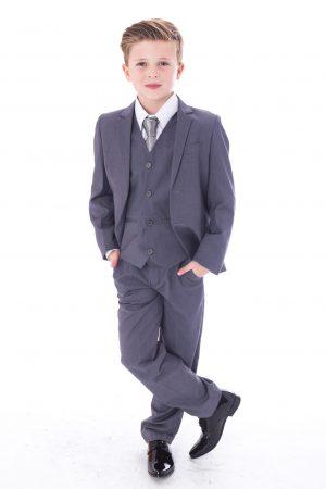 Boys 5 Piece Suit Slim Grey