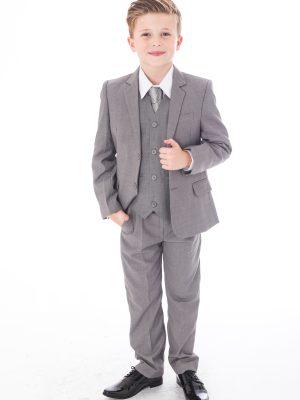 Boys 5 Piece Suits Boys 5 Piece Suit Light Grey