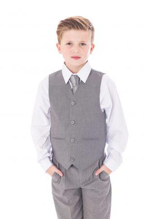 Boys 5 Piece Suit Light Grey