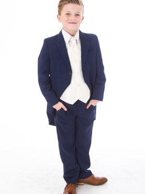 Boys 5 Piece Suits Boys 5 Piece Tailcoat Suit Navy /Cream Swirl