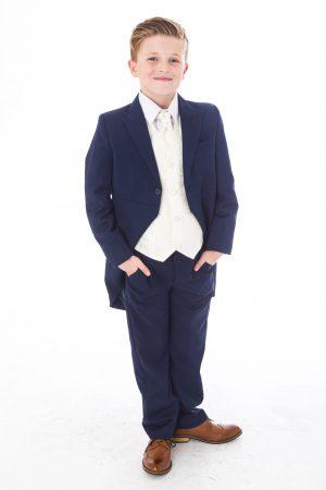 Boys 5 Piece Tailcoat Suit Navy /Cream Swirl