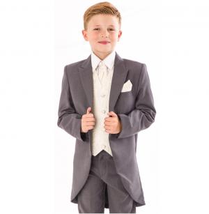 Boys 5 Piece Suit Grey/Cream Swirl Tailcoat