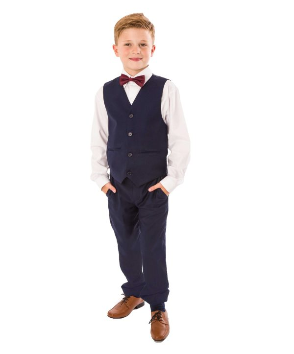 Boys 4 Piece bow tie suit Navy