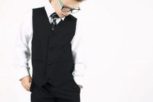 Boys 5 Piece Suit Slim Black