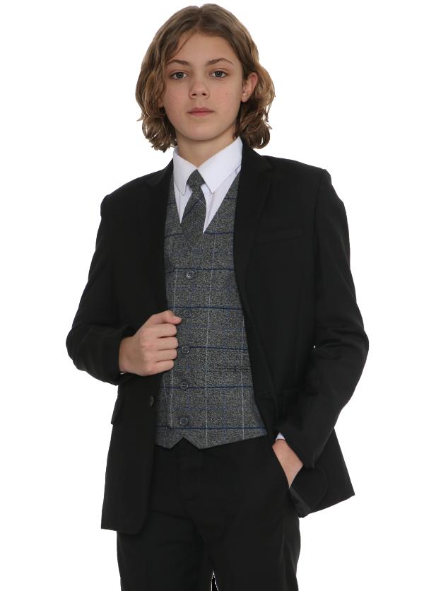 5pc Black Suit with Blue Check Michael