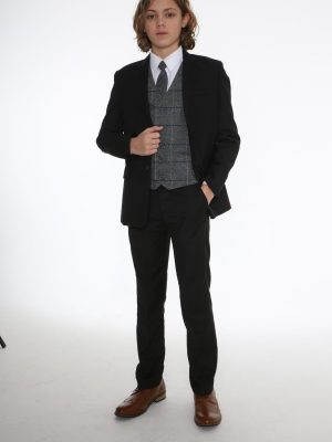 Boys 5 Piece Suits 5pc Black Suit with Blue Check Michael