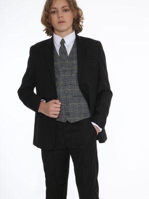 Boys 5 Piece Suits 5pc Black Suit with Blue Check Thomas