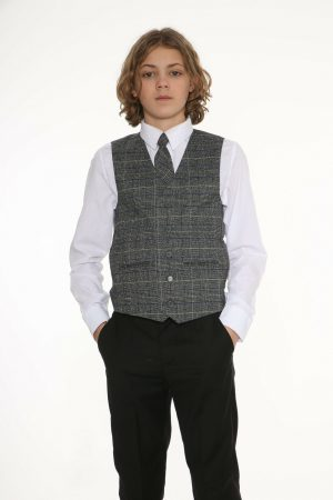 5pc Black Suit with Blue Check Thomas