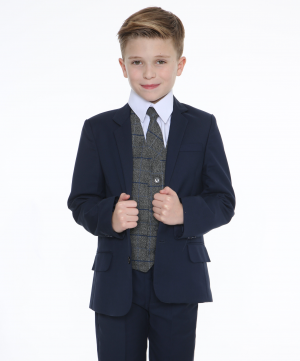 5pc Navy Suit with Blue Check Michael