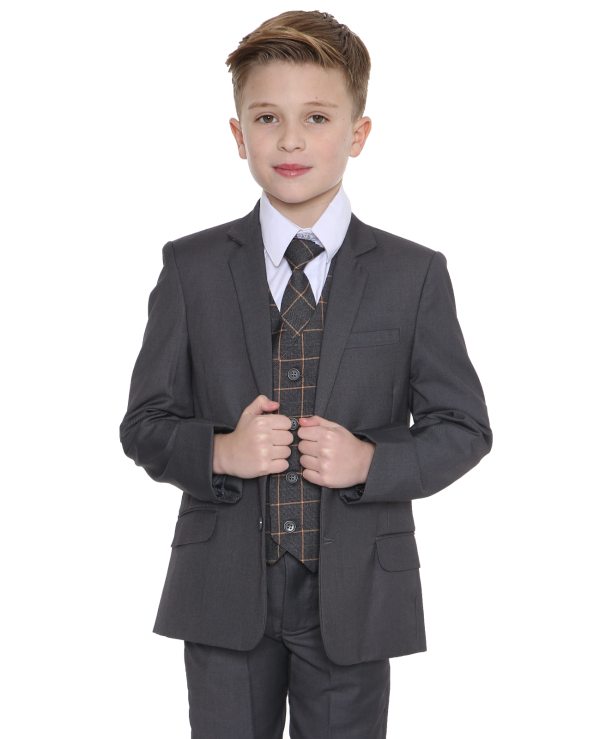 5pc Grey Suit with Grey Check Finn