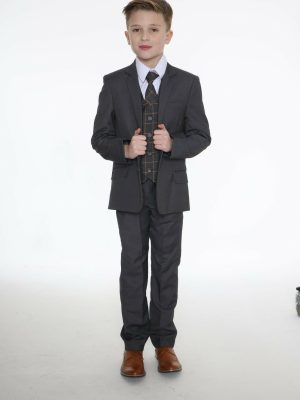 Boys 5 Piece Suits 5pc Grey Suit with Grey Check Finn