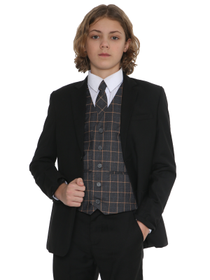 Boys 5 Piece Suits 5pc Black Suit with Grey Check Finn
